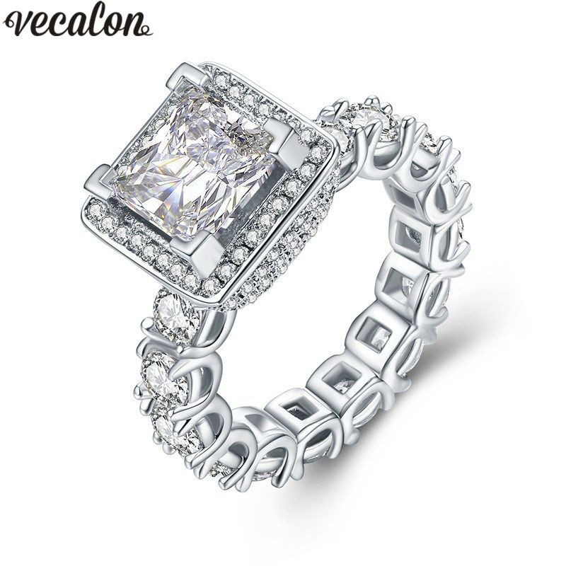 Vecalon Luxury ring Full Pave setting AAAAA Zircon Diamont 925 Sterling Silver Engagement wedding Band rings for women Gift