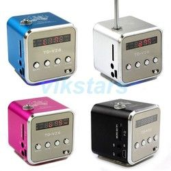 Baru Digita Portable FM Radio Speaker dengan Linternet Radio FM Radio Aluminium Mini Speaker Micro SD/TF Kartu Speaker untuk PC V26R