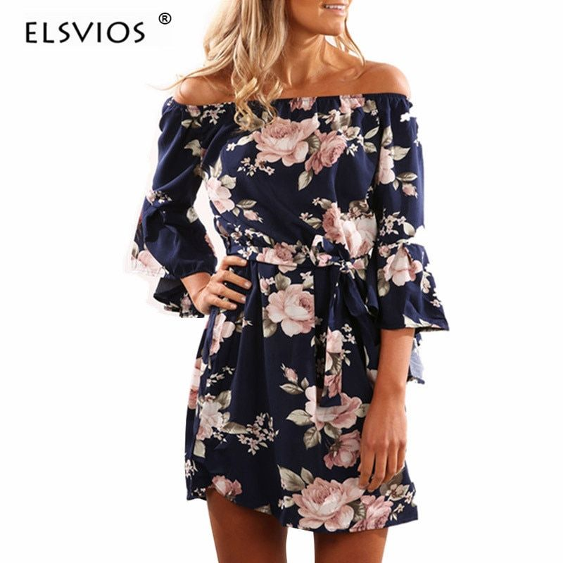 ELSVIOS Sexy Off Shoulder Slash Neck Office Dresses <font><b>2018</b></font> Summer Floral Print Beach Dress Casual Flare Sleeve Women Dress Vestido