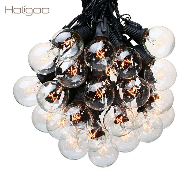 Holigoo 25Ft G40 Ampoule Globe Guirlandes avec Ampoule Claire Terrasse Arrière Lumières Ampoules Cru Décoratif Extérieur Guirlande De Mariage