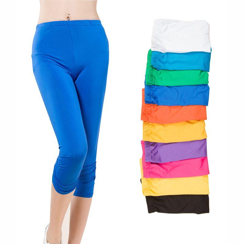 Bonbons couleurs dame mode Leggings grande taille L-4XL taille élastique haute dame mode pantalons Skinny bonne qualité Capris
