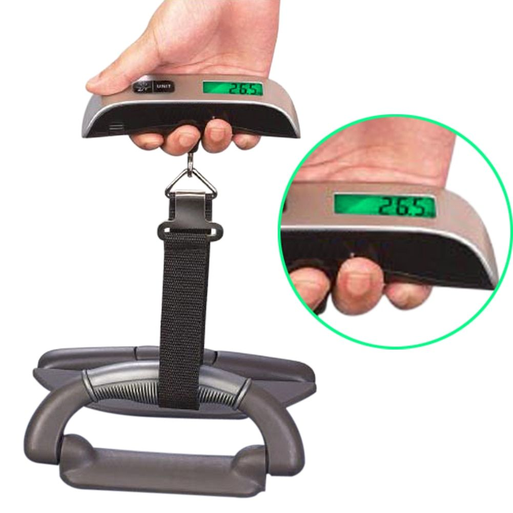 Luggage Scale Electronic Digital Scale Portable Suitcase Travel Bag Hanging Scales Balance Weight Thermometer LCD Display