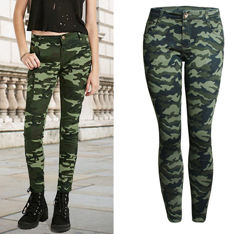 2018 Army Pants For Women Brand Womens Camouflage Pants 5XL Plus Size Imported Female Leggings Pencil Pants Military Style S700