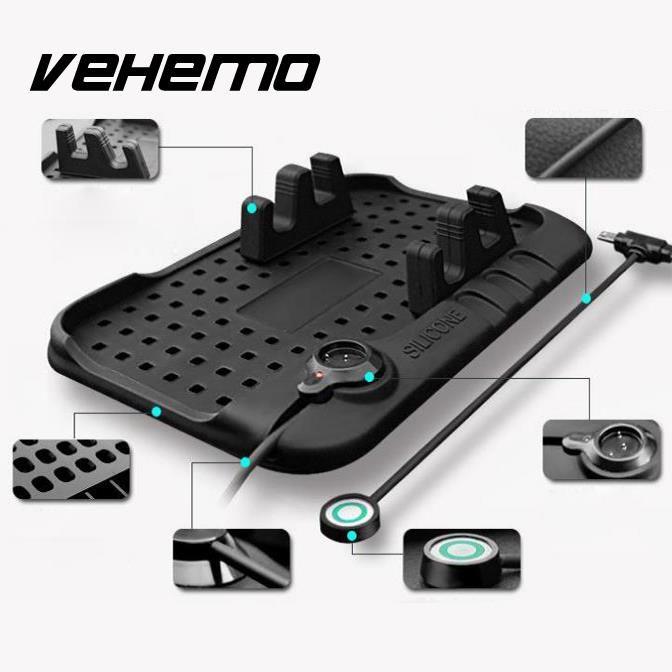 Vehemo Multi-functional Silicone Anti-Slip Mat Car Mobile Phone Holder Charger