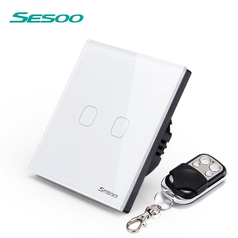 SESOO EU/UK 2 Gang 1 voie télécommande interrupteur tactile interrupteur mural à distance avec panneau en verre cristal et indicateur LED blanc