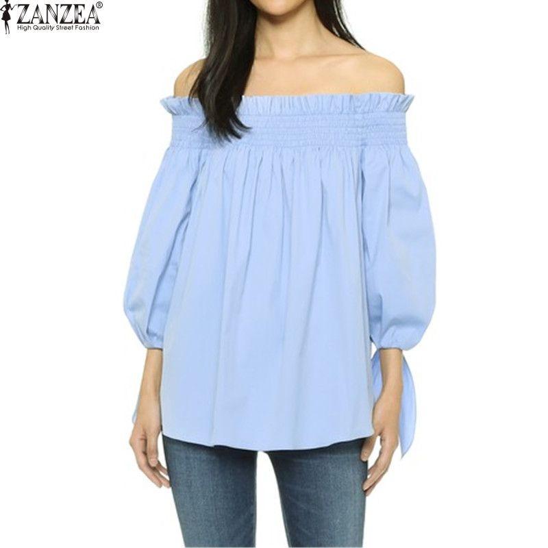 Plus la Taille Femmes Blusas Sexy ZANZEA 2018 Off Épaule Slash Cou Chemisier Chemises Casual Arc Vérifier Rayé Tops Dames Robe s-3XL
