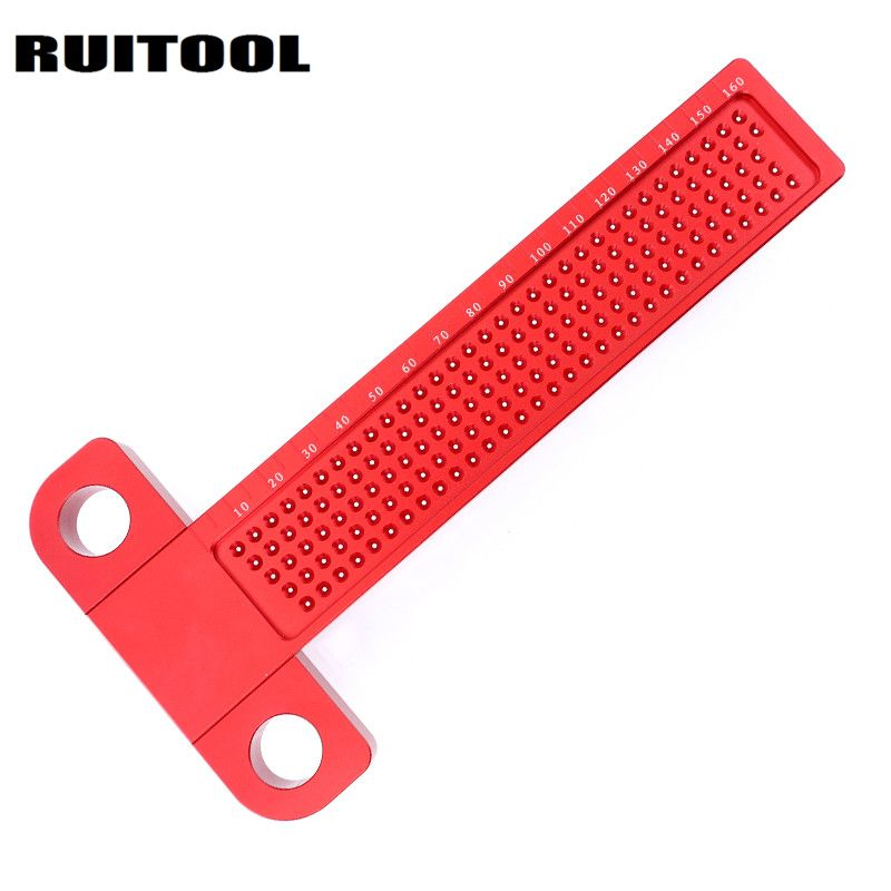 Woodworking Scriber T-type Ruler 160mm Hole Scribing Gauge Aluminum Alloy Crossed Feet Measuring Tool