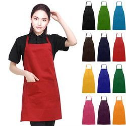 Cooking Baking Aprons Plain Unisex Catering Work Apron Tabard with Twin Double Pocket Kitchen Restaurant Women Home Sleeveless