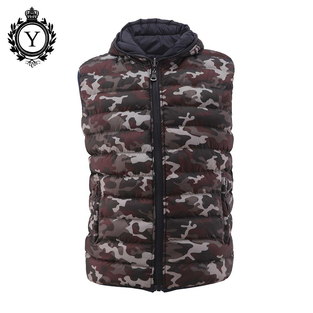 COUTUDI Neue Marke Mens Kleidung Winter Ärmellose Jacken Fashion Reversible Warme Mäntel Camouflage Gedruckt Reißverschluss Männlichen Daunenweste