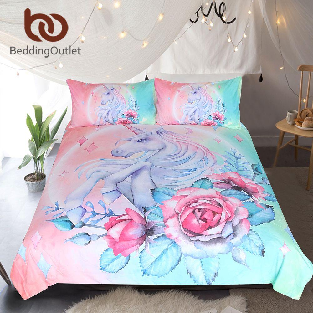 BeddingOutlet Einhorn und Rose Bettwäsche Set Cartoon für Kinder Bettbezug Girly Einzel Bett Set Rosa und Blau Floral Hause textilien