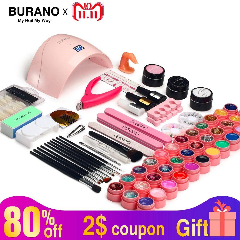 Nagel kit & lampe trockner 5-15 tag Russische Lieferung nagel set BURANO maniküre set 36 watt LED Lampe mit 36 Farbe UV Gel nagellack kit