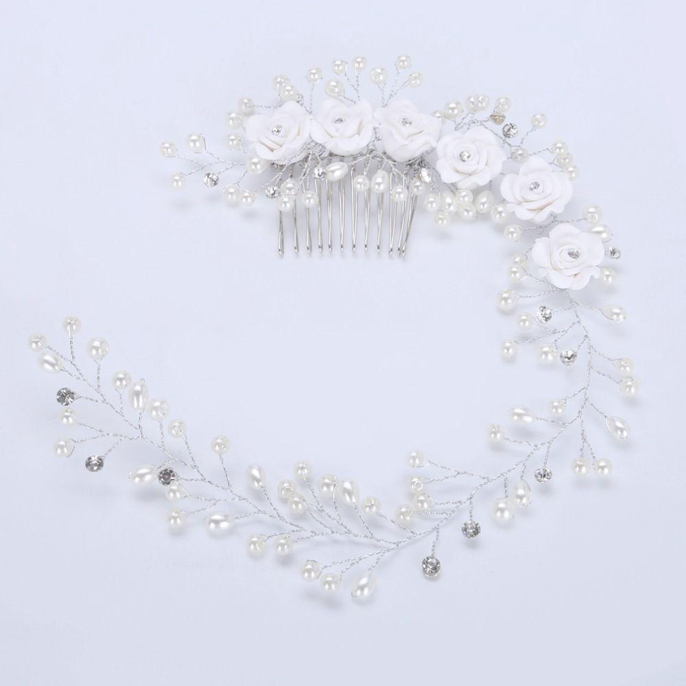 TUANMING Wedding Headdress Crystal Pearl Hairband White Flower Handmade Headbands Hairbrush Bride Hair Accessories Hair Jewelry