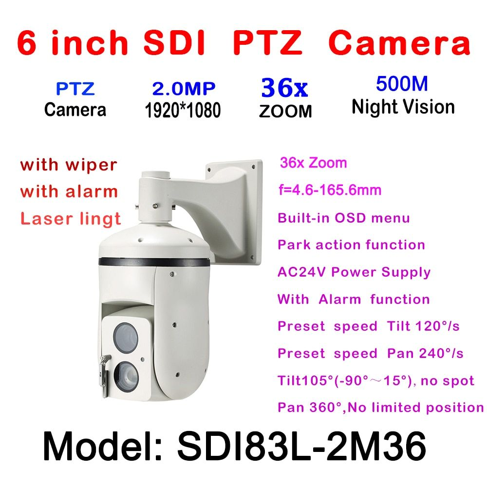 1080 P HD-SDI IR High Speed Dome PTZ Kamera 2MP 36X Optische Zoom 4,6 ~ 165,6mm Fokus IR Laser 500 m Im Freien Wasserdichte IP66 AC24V