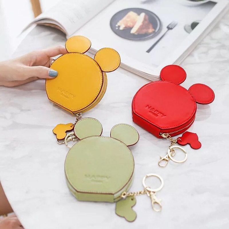 New fashion design Mickey head wallets women wallets small cute cartoon kawaii card holder key chain money bags for girls ladie