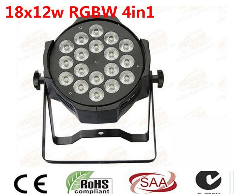 4 unids/lote, led par 18x12 w rgbw 4in1 quad led par can dj par64 led spotlight proyector iluminacion de la etapa de lavado luz