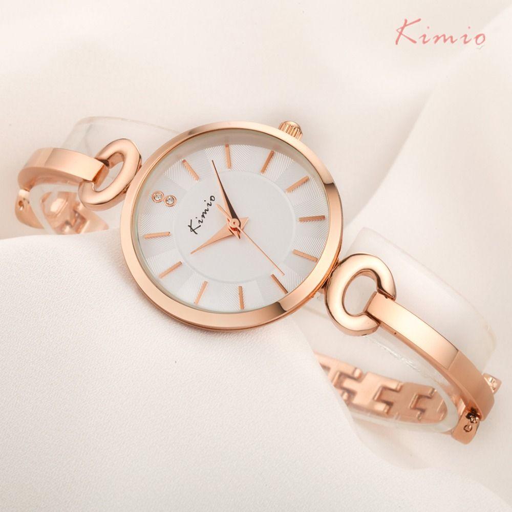 KIMIO Mince Cas Simple Double Cadran Bracelet Et Bracelet Combinaison Sangle Femmes Montres 2018 Dames Or Rose Montre Femme Pas Cher