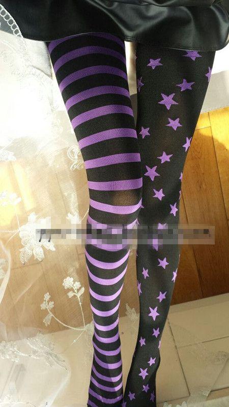 Принцесса сладкий Лолита колготки Harajuku личности панк звезда в полоску AB чулок tightsLKW218