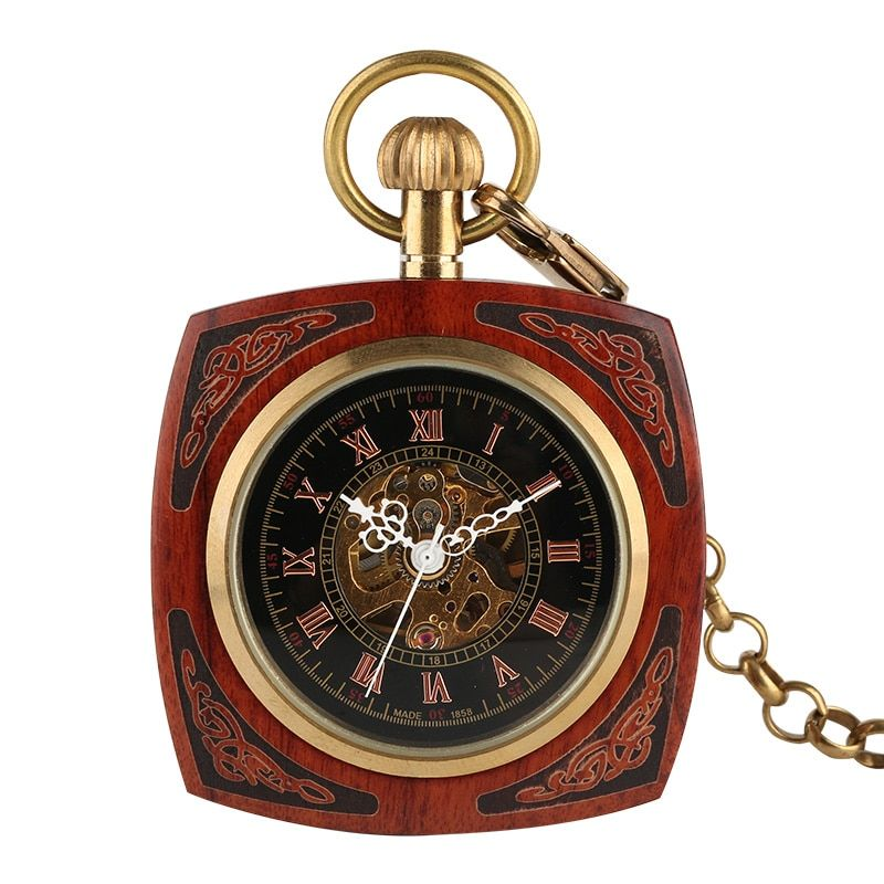 Retro Unique Royal Red Wooden Bamboo Hand Winding Mechanical Pocket Watch Square Dial with 30cm Gold Chain Men Hour Clock Gifts
