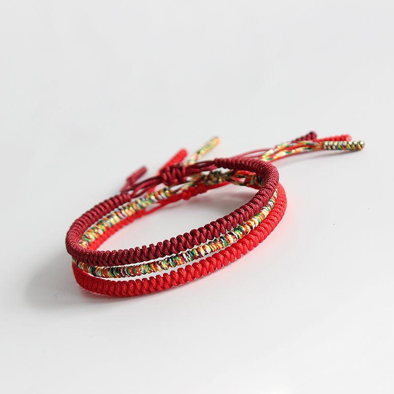 Original Multi couleur tibétain bouddhiste fait à la main noeuds chanceux corde Bracelet taille réglable même modèle que Leonardo DiCaprio béni