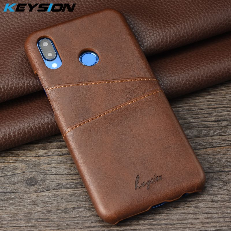 KEYSION Phone Case For Huawei P20 Lite Leather Luxury Vintage Wallet Card Slots Anti-knock Back Cover For Huawei nove 3e Fundas