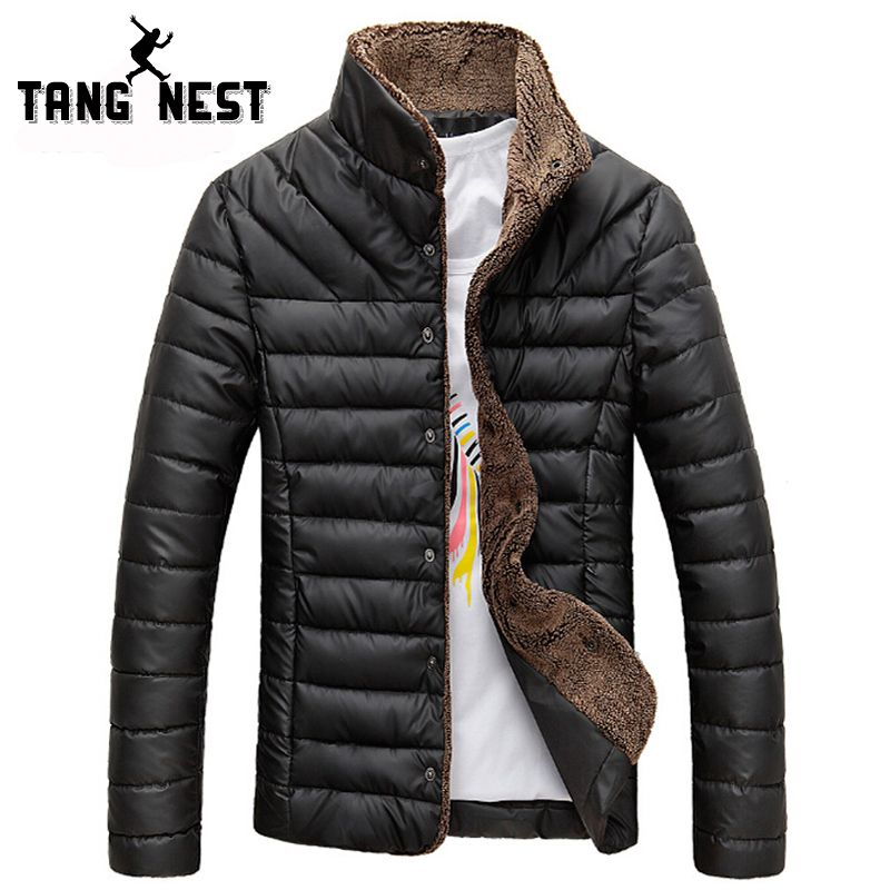 TANGNEST 2017 Men Winter Jacket Warm Casual All-match Single Breasted Solid Men Coat Popular Coat Two Colors Size M-3XL MWM432
