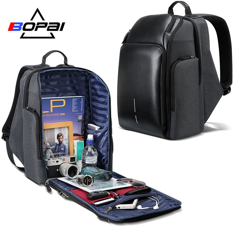 BOPAI Universität Studenten Schule Rucksack Stilvolle Leder Laptop Rucksack Wasserdicht Männer Große Branded Rucksack Reisetaschen