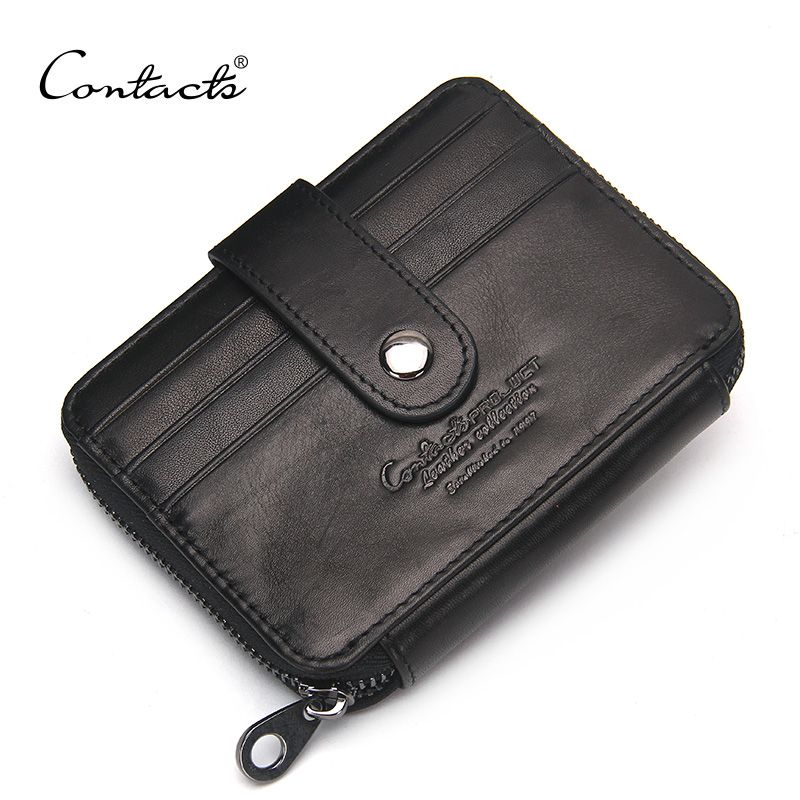 CONTACT'S Genuine Leather Credit Card Famous Brand Design Small Cards Wallets With Coin Purse Cow Leather Zippet Fashion Wallets