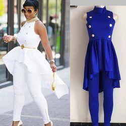 H & D 2018 Primavera Verano nueva Moda Africana mujeres trajes traje promoción grande botón Ruffles tops Pant Set 2 unidades traje vestidos