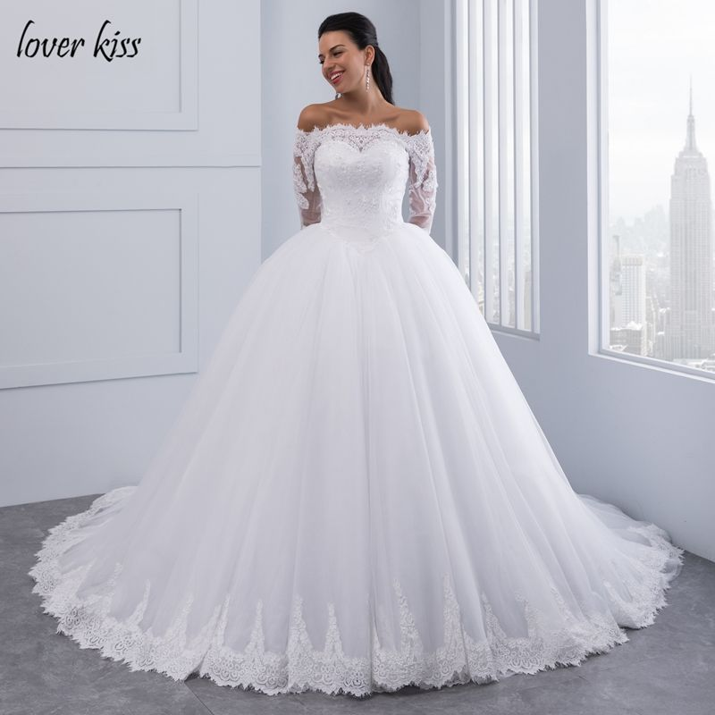 Lover Kiss Vestidos de Noiva Ball Gown Lace Wedding Dress Long Sleeves Off Shoulder Tulle Puffy Bride Gowns Casamento Mariage