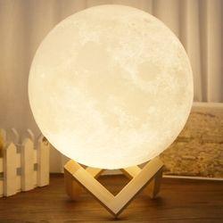 Lámpara de Escritorio recargable 3D LED Mágica Luna Luna Luz de La Noche de Carga USB 2 Cambio de Color de Control Táctil Decoración Creativa regalo