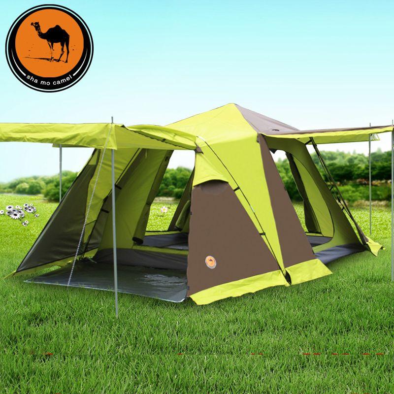 Große Camping Zelt 3 4 Person Automatische Touristischen Zelt Vier-tür Doppel Schicht Wasserdichte Schnee Rock Zelte Für Outdoor erholung