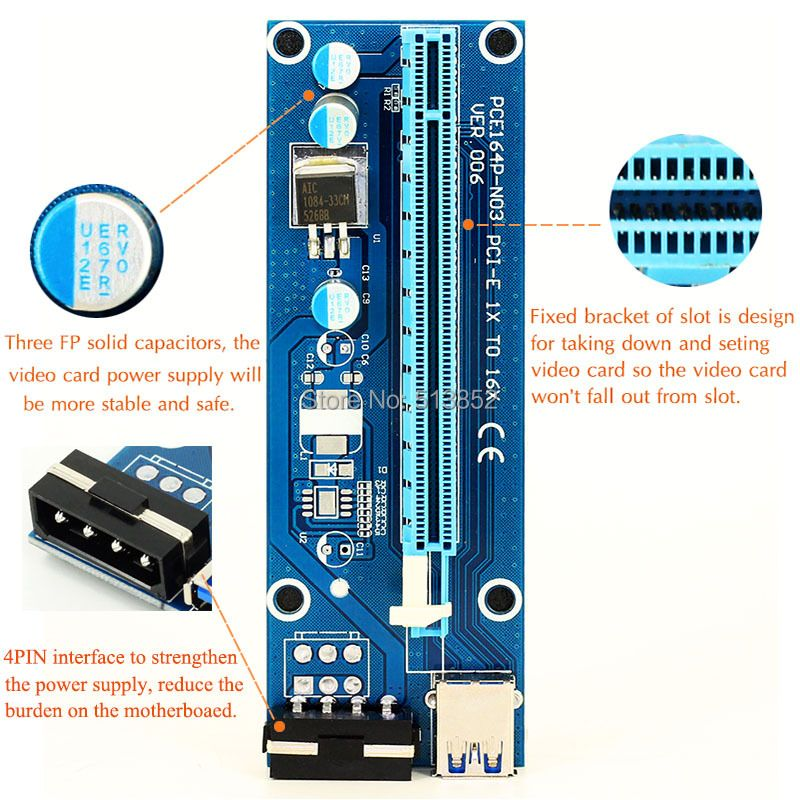 006 PC PCIe PCI-E PCI Express Riser Card 1x to 16x USB 3.0 Data Cable SATA to 4Pin IDE Molex Power Supply for BTC Miner Machine