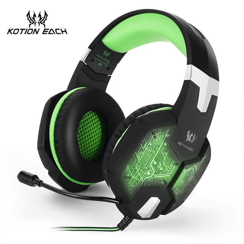 3.5mm Gamer Gaming Headset Gaming casque Eearphone casque audio Stéréo Jeu casque Avec Microphone Lumière Pour Ordinateur PC