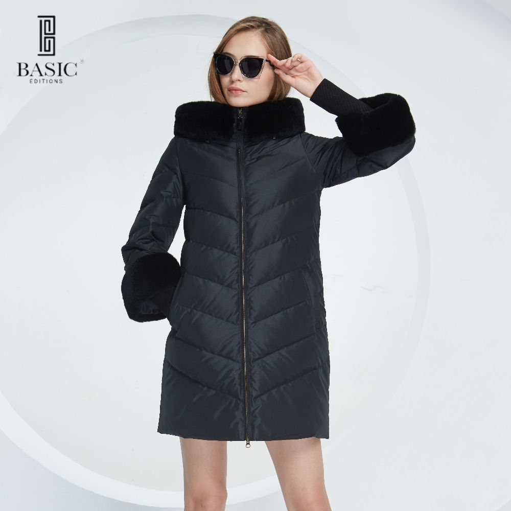 Basic Vogue Women Winter Hood Rabbit Fur Long Coat Down Parka Jacket with Fur Sleeves - WY214