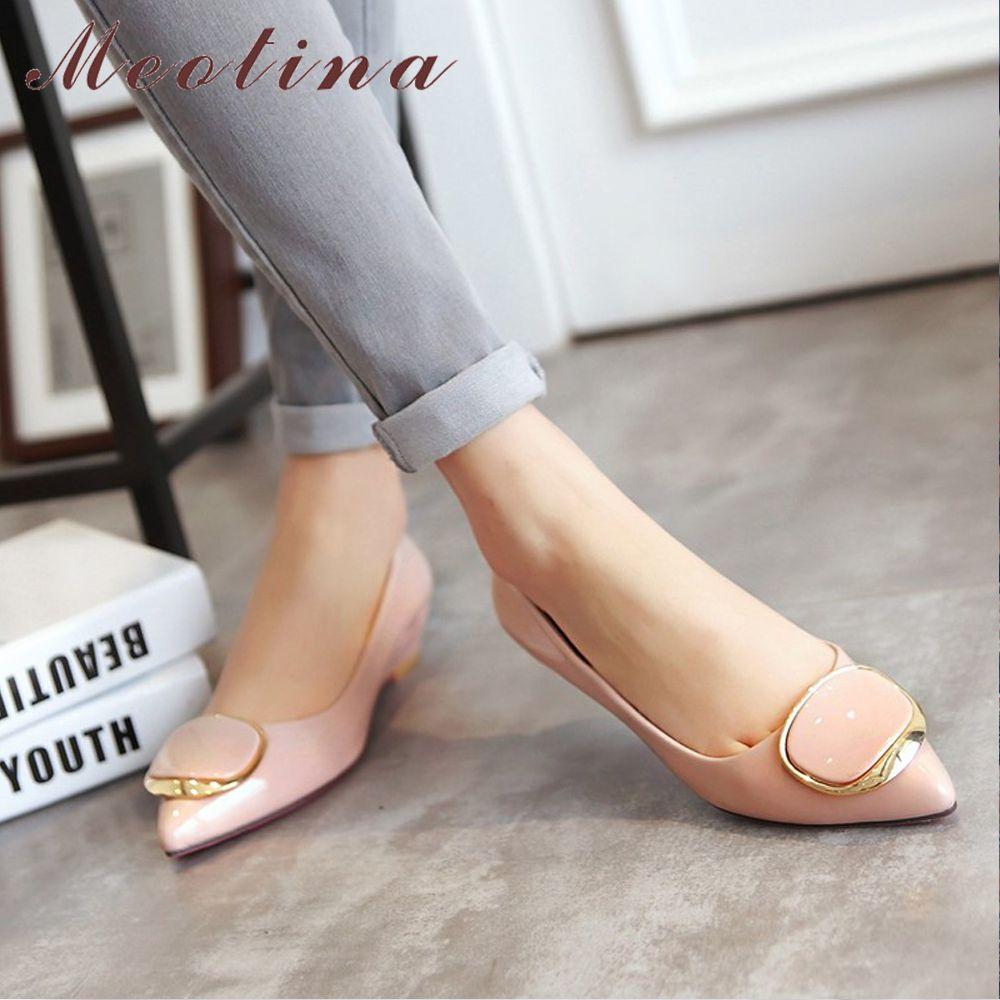 Meotina femmes chaussures talons compensés mariée mariage chaussures printemps bas talons pompes dames chaussures pompes sans lacet rose blanc grande taille 42 43
