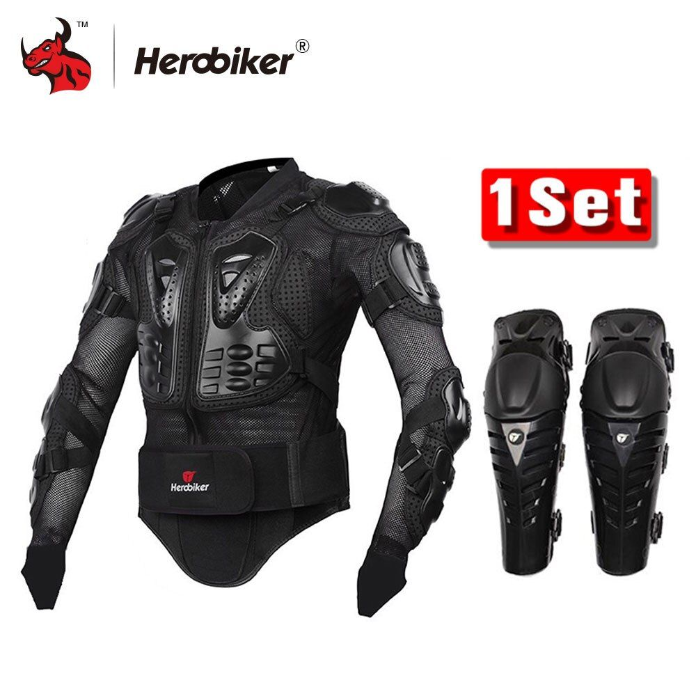 HEROBIKER Motorcycle Body Armor Protection Motorcross Racing Jacket+ Motocycle Knee Pad Moto Armor Black And Red