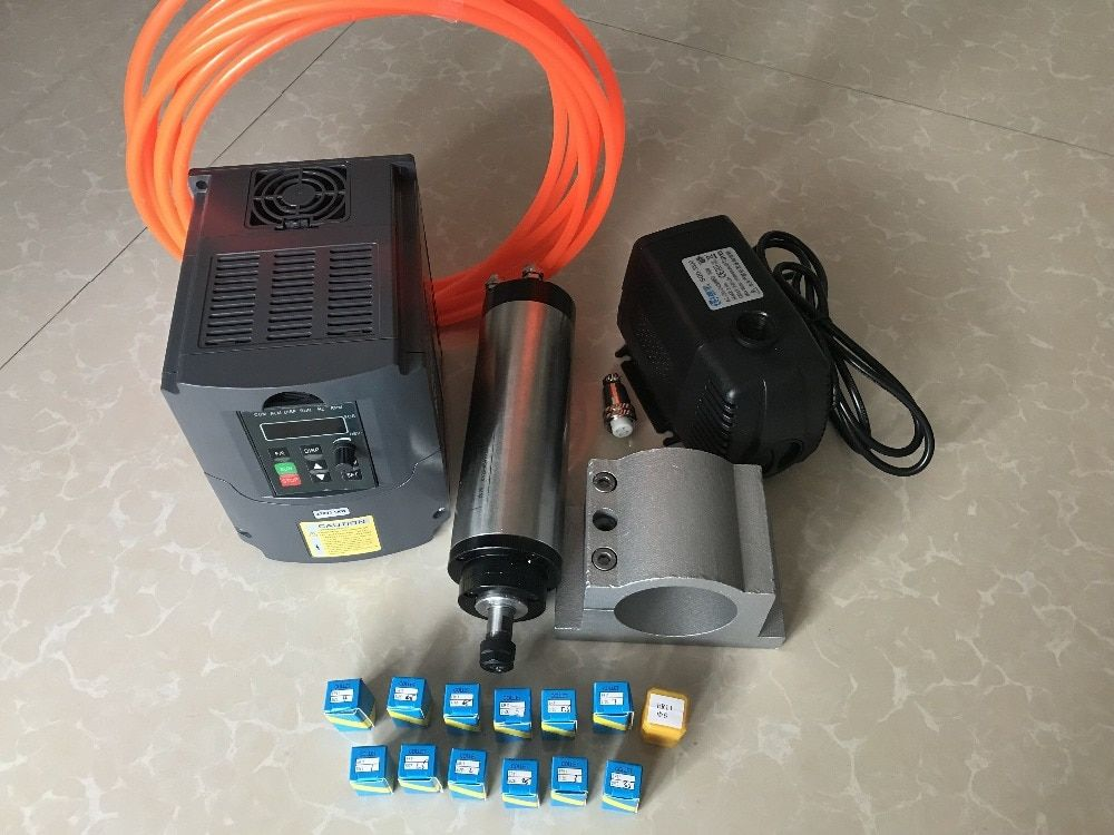 2.2KW CNC Spindle ER20 80MM Water Cooled Machine Tool Spindle Motor Kit For Milling Machine