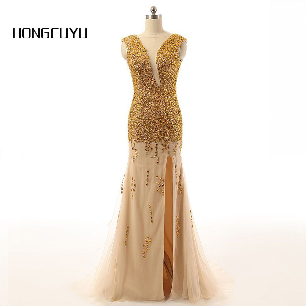 New Fashion Beading Chiffon Backless Cap Sleeve High Split Floor Length Formal Evening Dress 2018 Vestido De Festa N62601