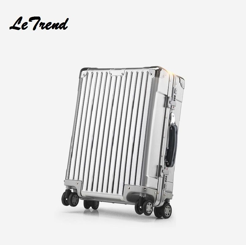New 20 24 26 Inch Retro Rolling Luggage 100% Aluminium Trolley Solid Travel Bag 20' Women Boarding Bag Carry On Suitcases Trunk