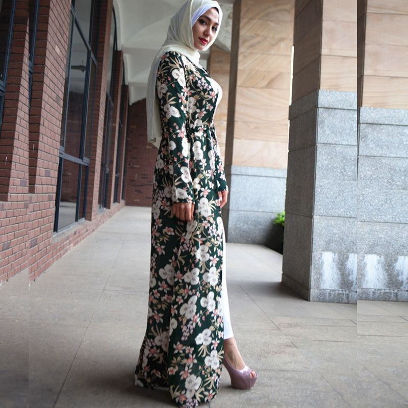 Muslim adult hit color printed abaya Arab Fashion Turkey Middle East muslim Dress Musical Robe Ramadan abaya wj2456 with belt