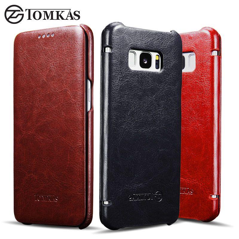 Cas Pour Samsung Galaxy S8 S8 Plus TOMKAS Vintage PU En Cuir Cas de Couverture de chiquenaude Pour Samsung Galaxy S8 Plus D'affaires Téléphone Sac couverture