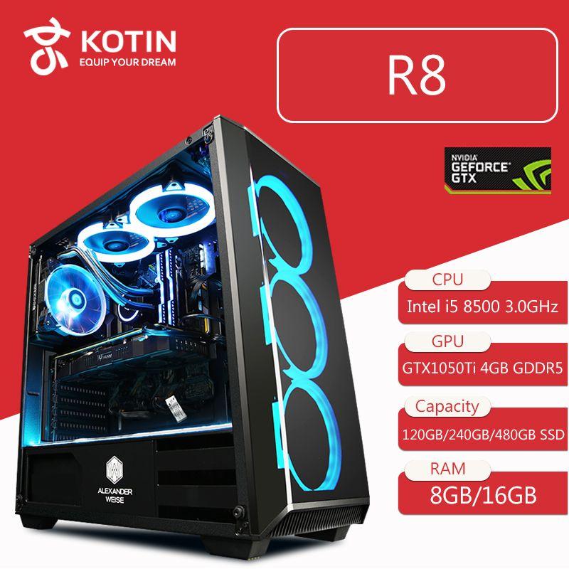 Getworth R8 Intel i5 8500 3.0GHz GTX 1050Ti Gaming PC Desktop Computer 120GB SSD 8GB DDR4 2666 RAM 6 Free Blue Fans Home Desk PC