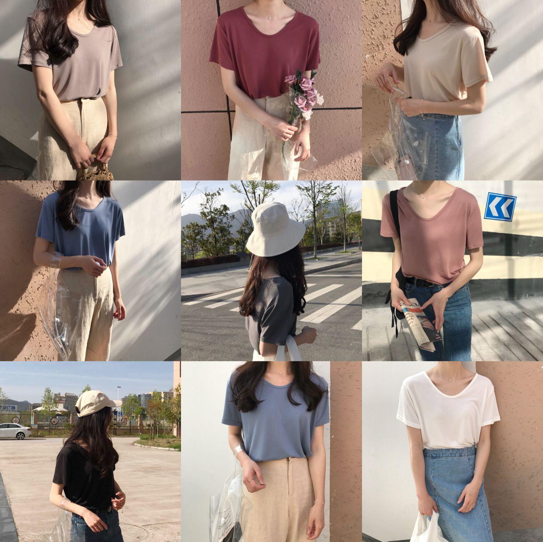 Summer New Pure White V Collar Slim, Short Sleeved T-shirt, Women's Fashionable Baggy Semi Sleeved Bottoming Shirt, Women's Clot
