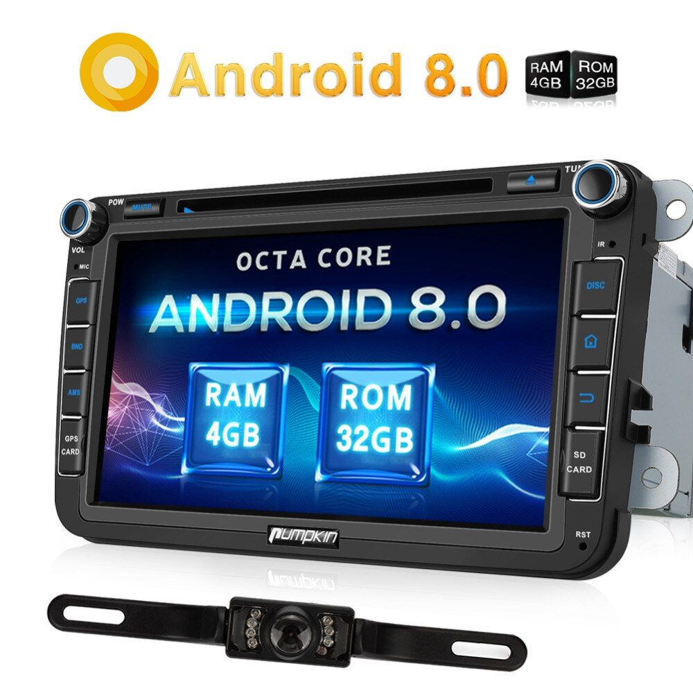 Pumpkin 2 Din 8'' Android 8.0 Car DVD Player GPS Navigation OBD2 Car Stereo For VW/Skoda/Seat/Golf 4G DAB+FM Rds Radio Headunit