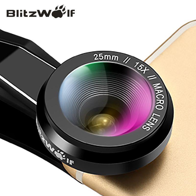BlitzWolf Cámara Lente Óptico 15X Lente Macro 25mm Microscopio Photography Kit Lente Clip Universal Del Teléfono Móvil Para Smartphone