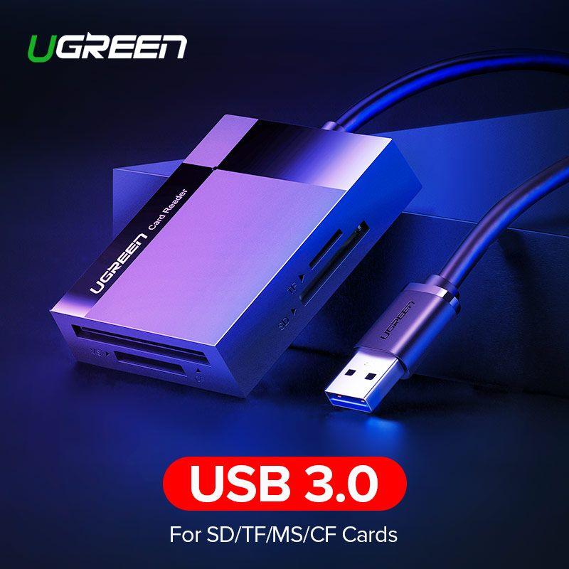 Ugreen lecteur de cartes usb 3.0 Tout en Un SD/Micro SD/TF/CF/MS Compact Flash Intelligent Mémoire carte type d'adaptateur C OTG lecteur de carte sd
