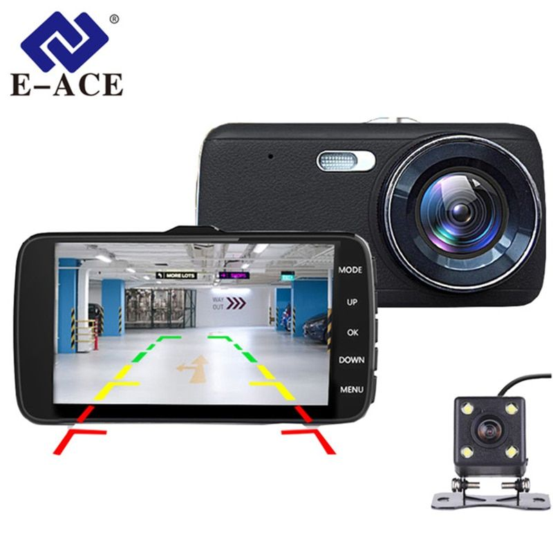 E-ACE Car DVR Camera Dashcam Dual Lens With LDWS ADAS Rearview Mirror Car Distance Warning FHD 1080P Night Vision Automobile