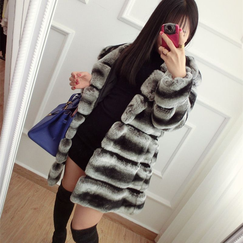 CNEGOVIK High quality chinchilla fur coats for women rex rabbit fur coat with hood real fur coat