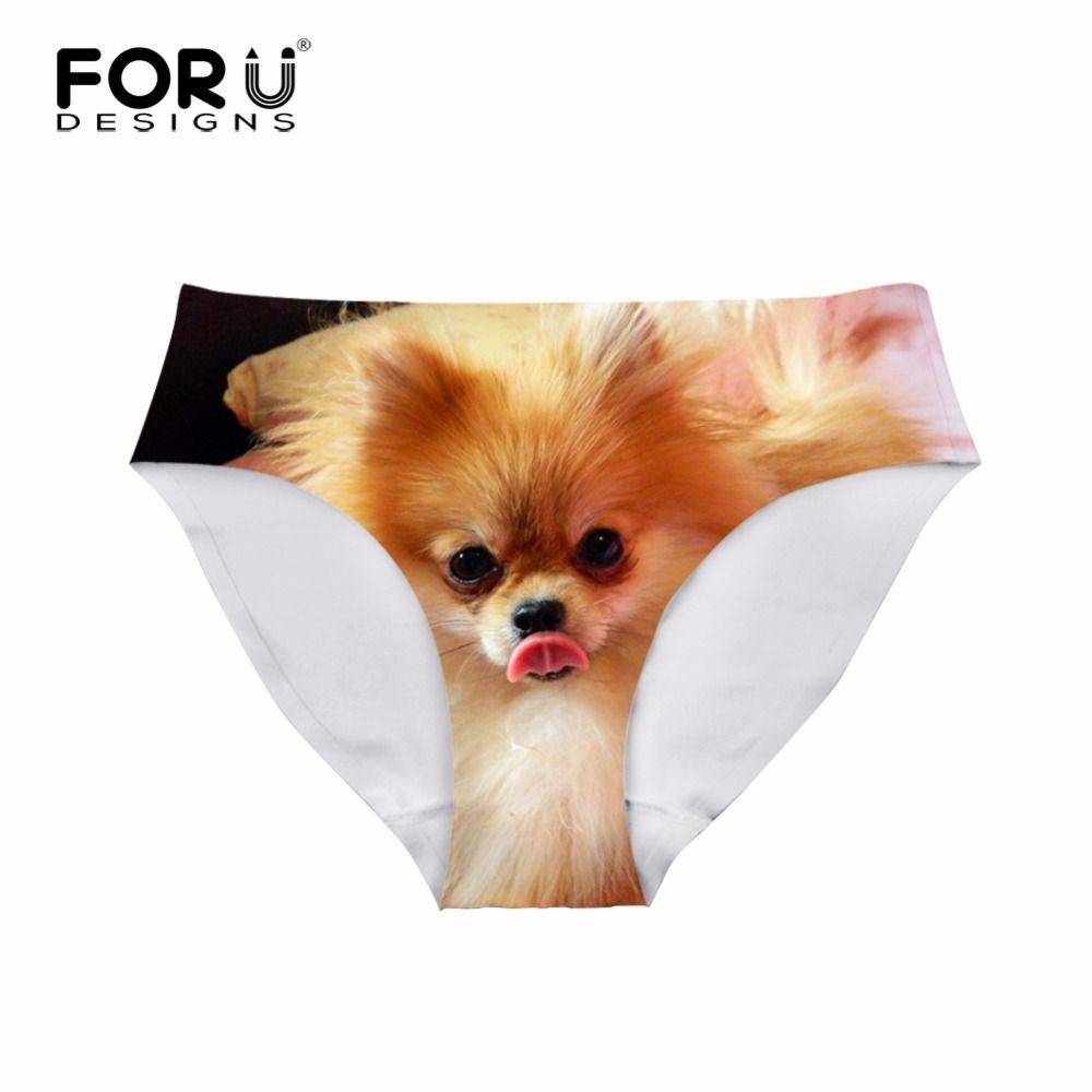 FORUDESIGNS 2018 marque femmes sous-vêtements dames culottes Sexy pour les filles mignon 3D poméranien chien femmes slips femme tongs Mujer