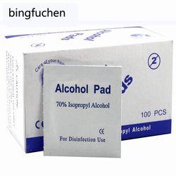 100 unids/lote Portable 100 unids/caja Alcohol Swabs Pads Wipes antiséptico limpiador limpieza esterilización Primeros Auxilios inicio maquillaje nuevo